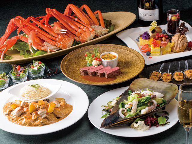 サーロインステーキと蒸し立ての蟹