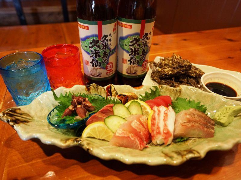 自慢の料理と、久米仙で乾杯!