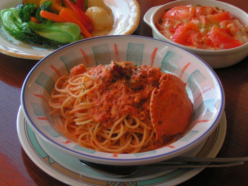 渡り蟹のトマトクリームスパゲティー
