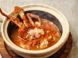 島豆腐が蟹にまみれて‥。