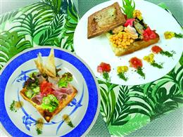 ホウレン草とアサリパイ、生ハムと夏野菜サラダパイ
