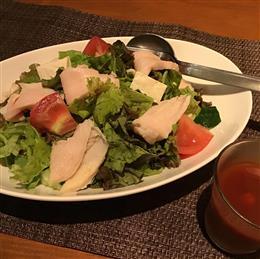 柔らか蒸し鶏と島豆腐さっぱりトマトドレサラダ