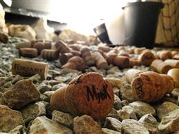 床に散らばったコルクはお客様とワインの出会いの証