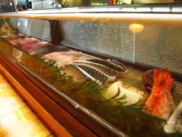 獲れたての新鮮な魚介類が並ぶ